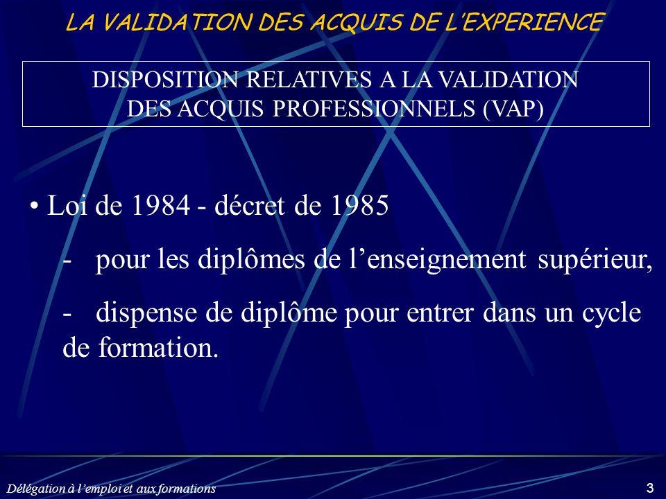 Délégation à lemploi et aux formations 3 LA VALIDATION DES ACQUIS DE LEXPERIENCE Loi de 1984 - décret de 1985 -pour les diplômes de lenseignement supé