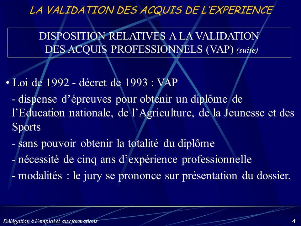 Délégation à lemploi et aux formations 4 LA VALIDATION DES ACQUIS DE LEXPERIENCE Loi de 1992 - décret de 1993 : VAP -dispense dépreuves pour obtenir u