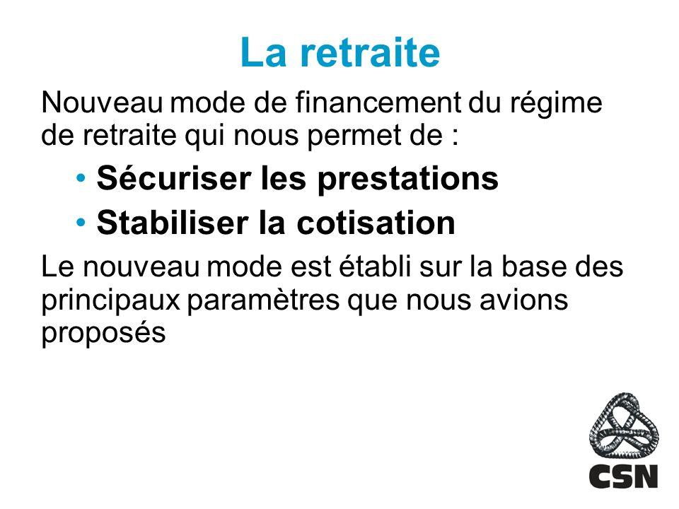 La retraite Nouveau mode de financement du régime de retraite qui nous permet de : Sécuriser les prestations Stabiliser la cotisation Le nouveau mode est établi sur la base des principaux paramètres que nous avions proposés