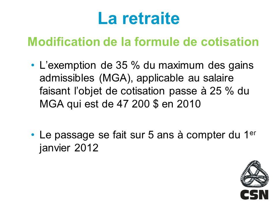 La retraite Modification de la formule de cotisation Lexemption de 35 % du maximum des gains admissibles (MGA), applicable au salaire faisant lobjet de cotisation passe à 25 % du MGA qui est de 47 200 $ en 2010 Le passage se fait sur 5 ans à compter du 1 er janvier 2012
