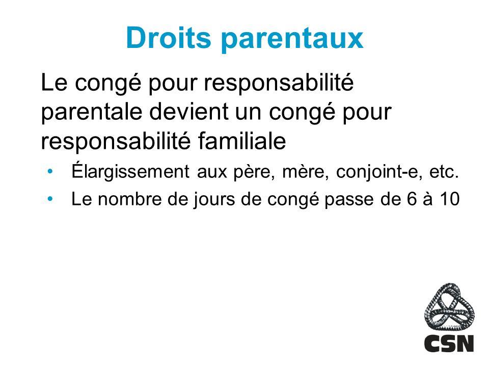 Droits parentaux Le congé pour responsabilité parentale devient un congé pour responsabilité familiale Élargissement aux père, mère, conjoint-e, etc.