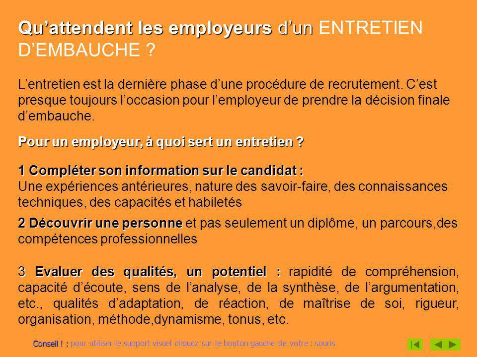 Quattendent les employeurs dun Quattendent les employeurs dun ENTRETIEN DEMBAUCHE ? Lentretien est la dernière phase dune procédure de recrutement. Ce