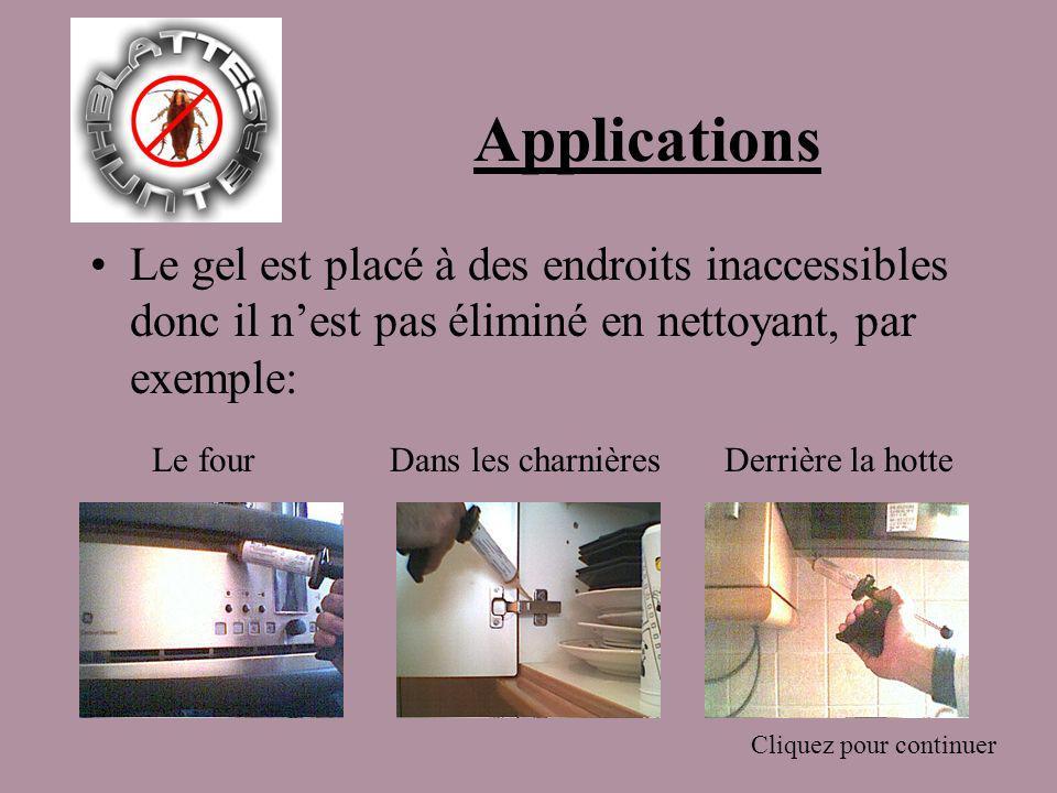 Applications Le gel est placé à des endroits inaccessibles donc il nest pas éliminé en nettoyant, par exemple: Le fourDans les charnières Cliquez pour