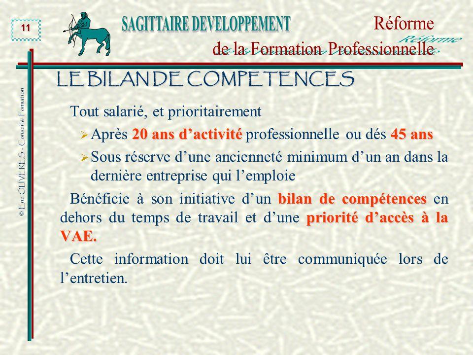 © Eric OLIVERES - Conseil & Formation 11 LE BILAN DE COMPETENCES Tout salarié, et prioritairement 20 ans dactivité45 ans Après 20 ans dactivité profes