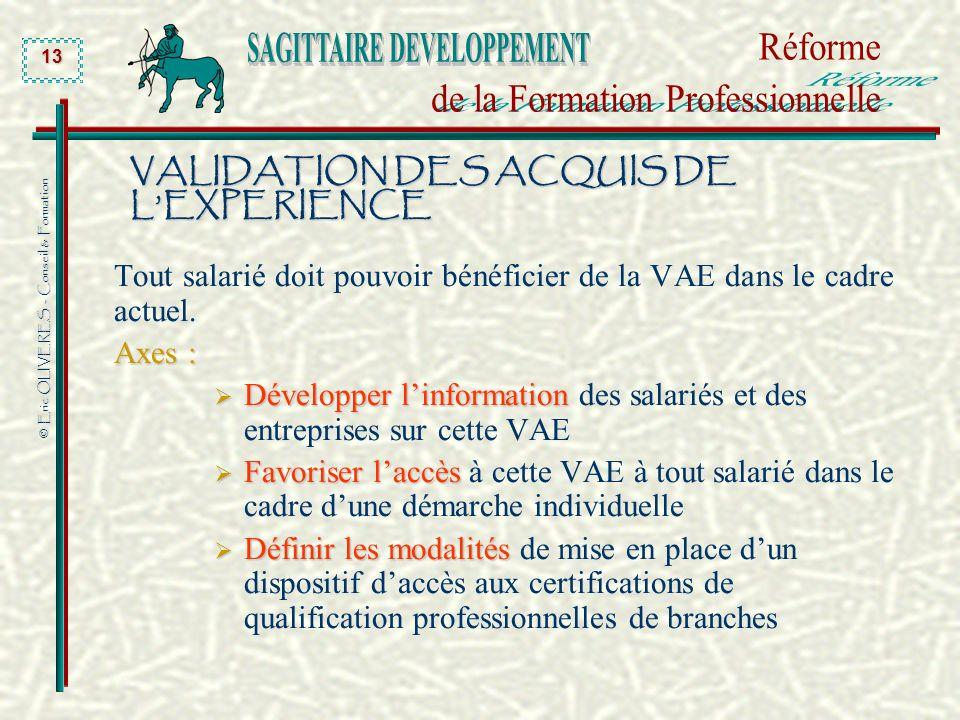 © Eric OLIVERES - Conseil & Formation 13 VALIDATION DES ACQUIS DE LEXPERIENCE Tout salarié doit pouvoir bénéficier de la VAE dans le cadre actuel. Axe