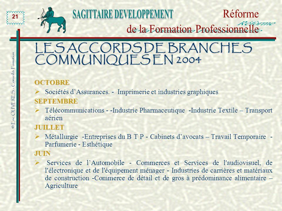 © Eric OLIVERES - Conseil & Formation 21 LES ACCORDS DE BRANCHES COMMUNIQUES EN 2004 OCTOBRE Sociétés dAssurances. - Imprimerie et industries graphiqu