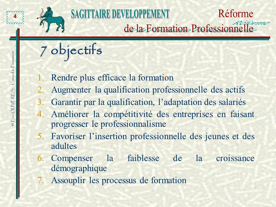 © Eric OLIVERES - Conseil & Formation 4 7 objectifs 1.Rendre plus efficace la formation 2.Augmenter la qualification professionnelle des actifs 3.Gara