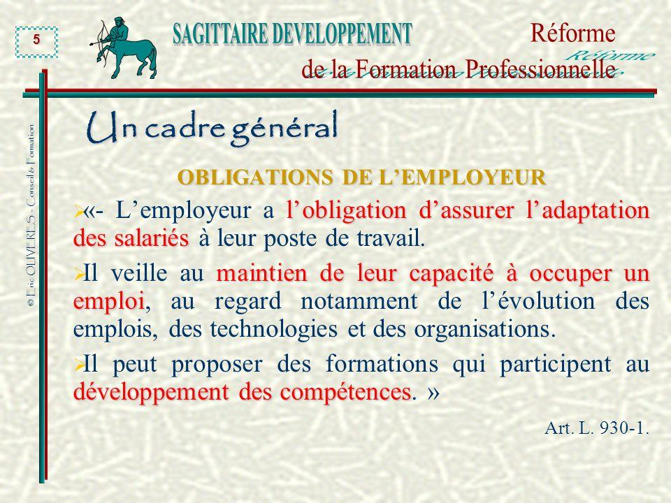 © Eric OLIVERES - Conseil & Formation 5 Un cadre général OBLIGATIONS DE LEMPLOYEUR lobligation dassurer ladaptation des salariés «- Lemployeur a lobli