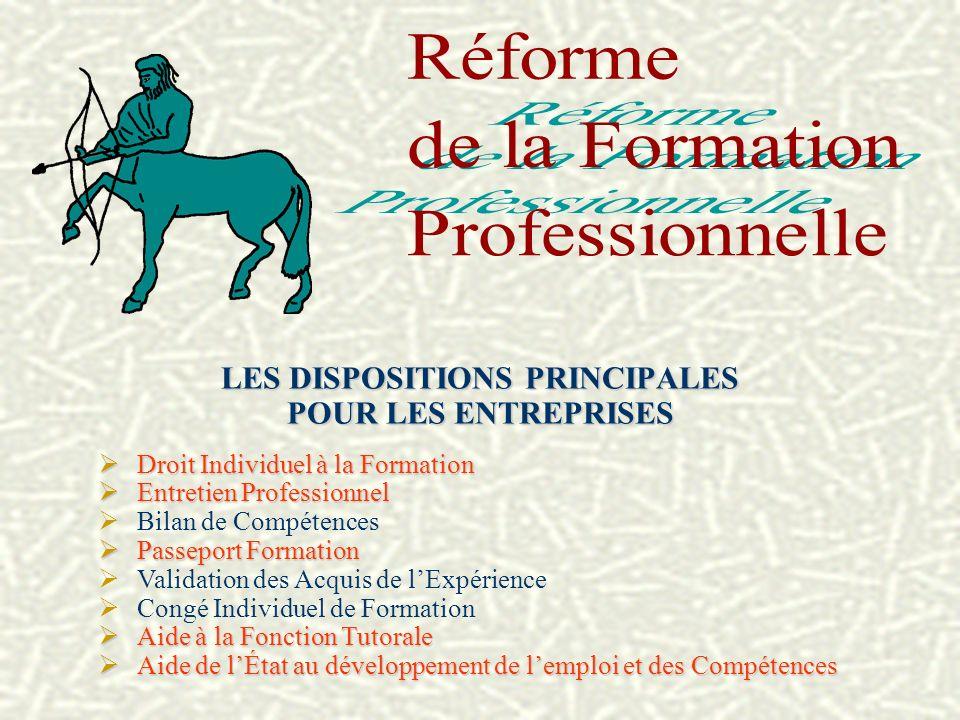 LES DISPOSITIONS PRINCIPALES POUR LES ENTREPRISES Droit Individuel à la Formation Droit Individuel à la Formation Entretien Professionnel Entretien Pr
