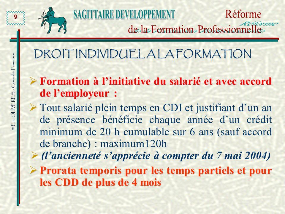© Eric OLIVERES - Conseil & Formation 9 DROIT INDIVIDUEL A LA FORMATION Formation à linitiative du salarié et avec accord de lemployeur : Formation à