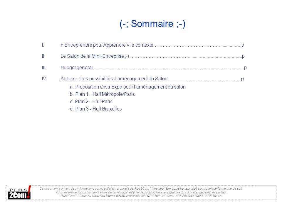 (-; Sommaire ;-) Ce document contient des informations confidentielles, propriété de Plus2Com ! Il ne peut être copié ou reproduit sous quelque forme