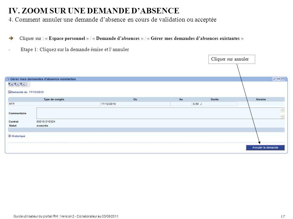 IV. ZOOM SUR UNE DEMANDE DABSENCE 4. Comment annuler une demande dabsence en cours de validation ou acceptée 17 Cliquer sur : « Espace personnel » / «