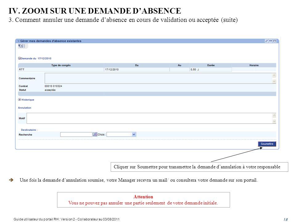 IV. ZOOM SUR UNE DEMANDE DABSENCE 3. Comment annuler une demande dabsence en cours de validation ou acceptée (suite) 18 Une fois la demande dannulatio