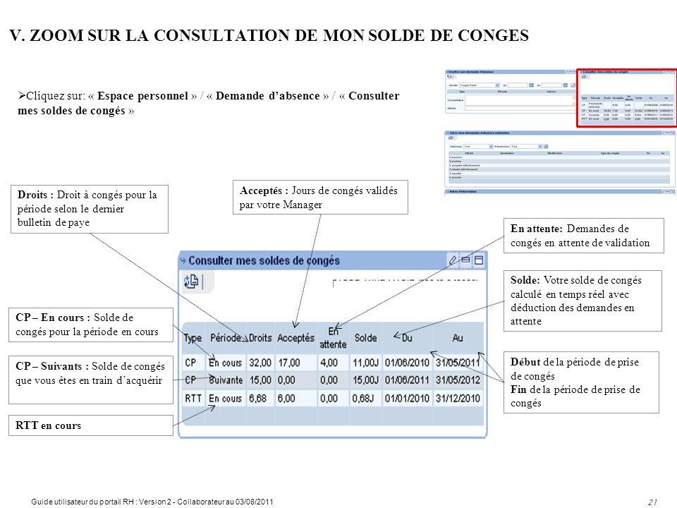 V. ZOOM SUR LA CONSULTATION DE MON SOLDE DE CONGES Droits : Droit à congés pour la période selon le dernier bulletin de paye Acceptés : Jours de congé