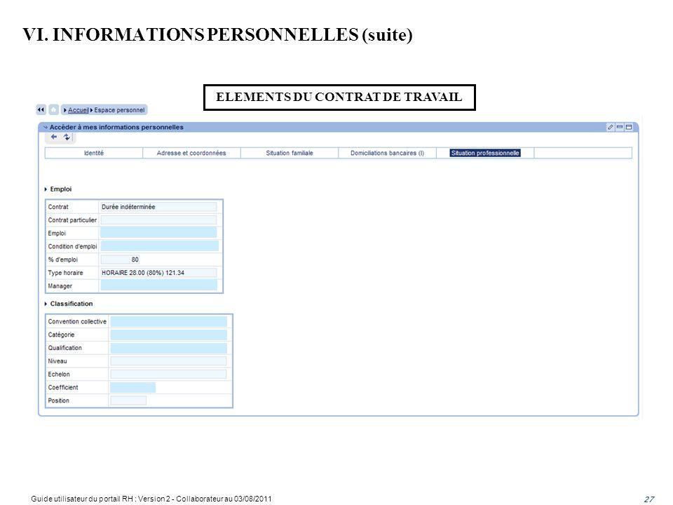 ELEMENTS DU CONTRAT DE TRAVAIL VI. INFORMATIONS PERSONNELLES (suite) 27 Guide utilisateur du portail RH : Version 2 - Collaborateur au 03/08/2011 27