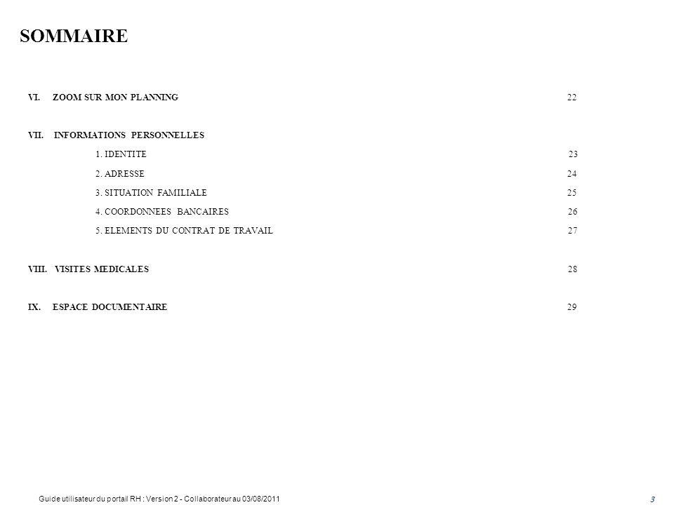 SOMMAIRE VI.ZOOM SUR MON PLANNING22 VII. INFORMATIONS PERSONNELLES 1.
