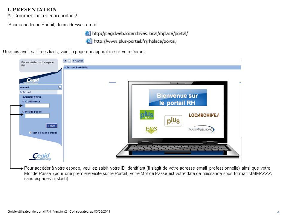 Pour accéder au Portail, deux adresses email : Une fois avoir saisi ces liens, voici la page qui apparaîtra sur votre écran : Pour accéder à votre espace, veuillez saisir votre ID Identifiant (il sagit de votre adresse email professionnelle) ainsi que votre Mot de Passe (pour une première visite sur le Portail, votre Mot de Passe est votre date de naissance sous format JJMMAAAA sans espaces ni slash) I.
