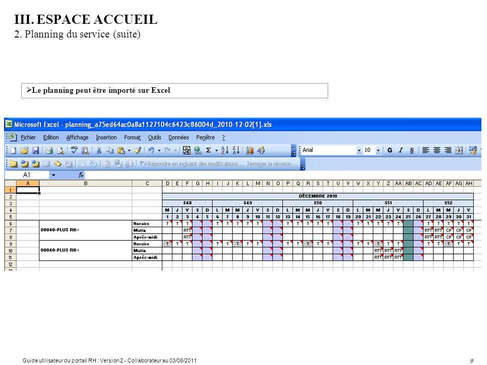 9 III. ESPACE ACCUEIL 2. Planning du service (suite) Le planning peut être importé sur Excel Guide utilisateur du portail RH : Version 2 - Collaborate
