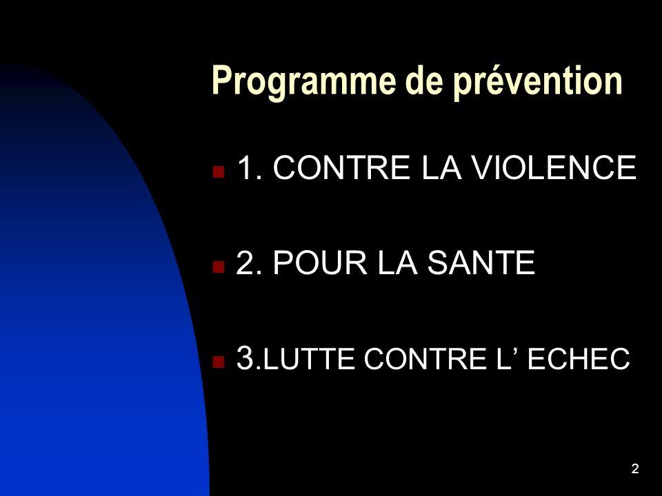 2 Programme de prévention 1. CONTRE LA VIOLENCE 2. POUR LA SANTE 3.LUTTE CONTRE L ECHEC