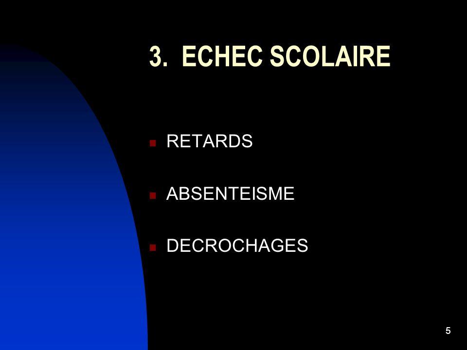 5 3. ECHEC SCOLAIRE RETARDS ABSENTEISME DECROCHAGES