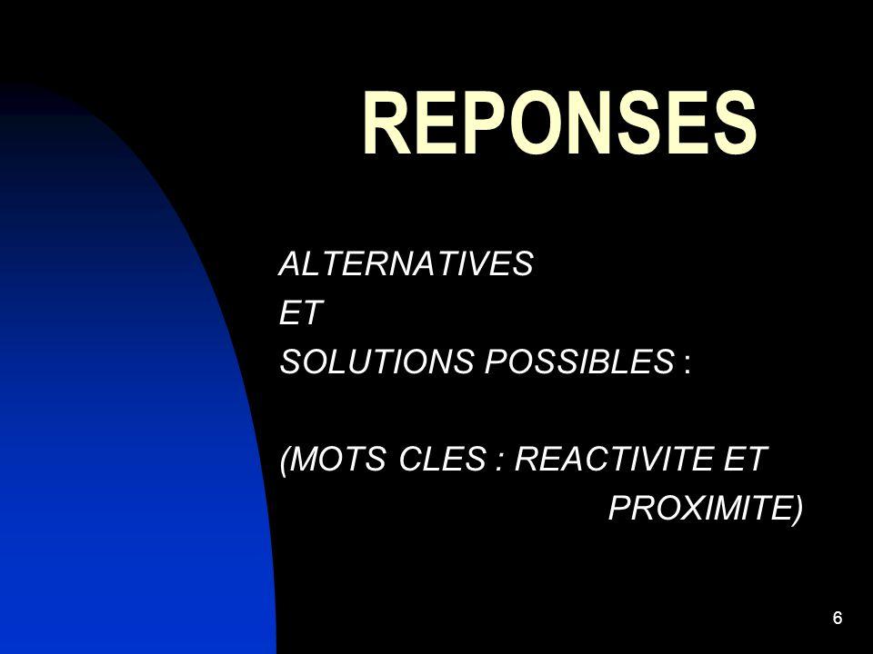 6 REPONSES ALTERNATIVES ET SOLUTIONS POSSIBLES : (MOTS CLES : REACTIVITE ET PROXIMITE)
