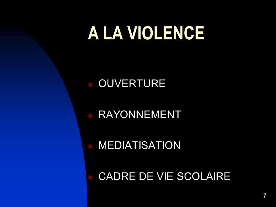 7 A LA VIOLENCE OUVERTURE RAYONNEMENT MEDIATISATION CADRE DE VIE SCOLAIRE