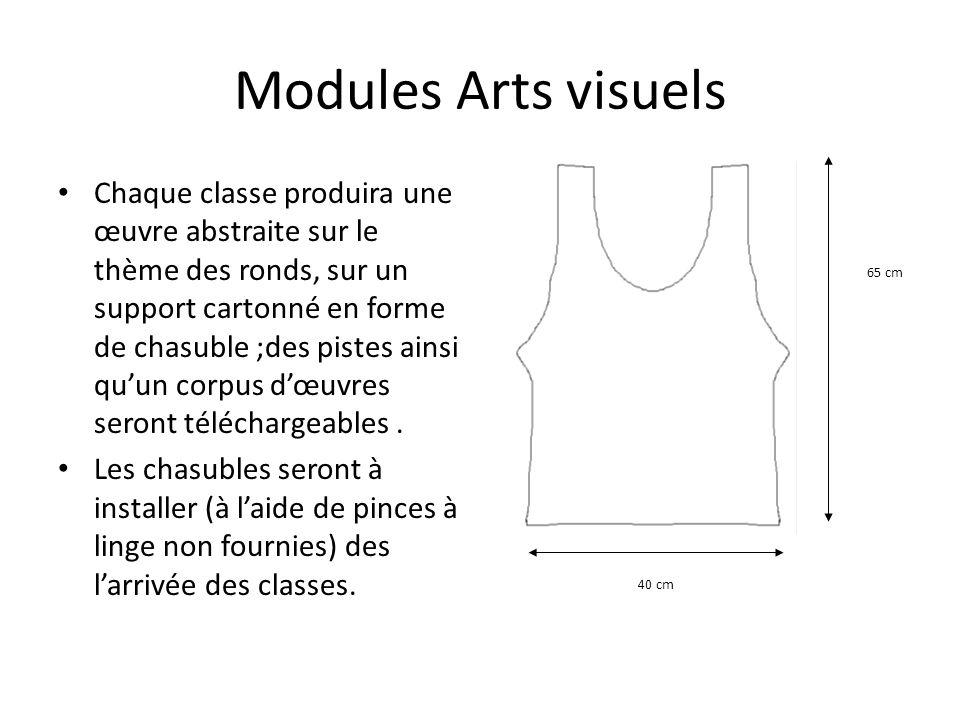 Modules Arts visuels Chaque classe produira une œuvre abstraite sur le thème des ronds, sur un support cartonné en forme de chasuble ;des pistes ainsi