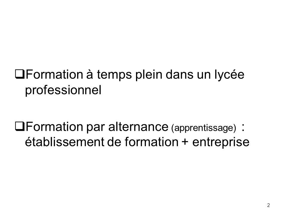 2 Formation à temps plein dans un lycée professionnel Formation par alternance (apprentissage) : établissement de formation + entreprise