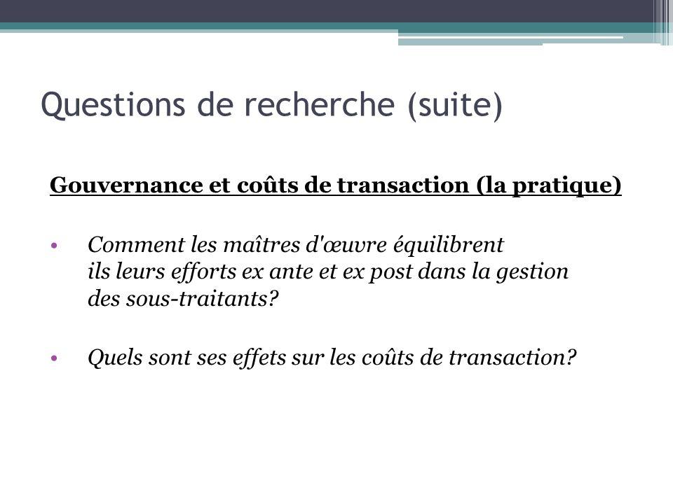 Questions de recherche (suite) Gouvernance et coûts de transaction (la pratique) Comment les maîtres d'œuvre équilibrent ils leurs efforts ex ante et