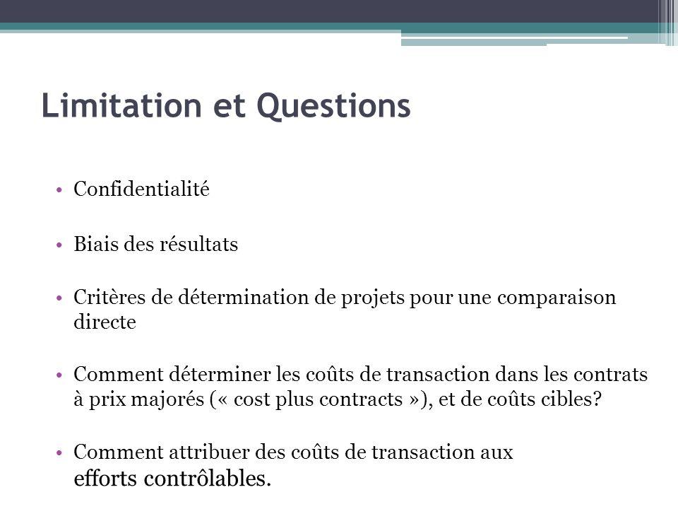 Limitation et Questions Confidentialité Biais des résultats Critères de détermination de projets pour une comparaison directe Comment déterminer les c