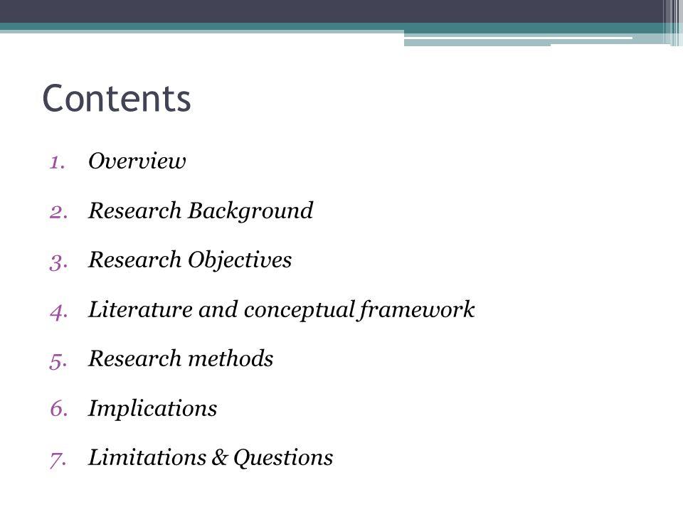 Contenu 1.Vue d ensemble 2.Cadre de la recherche 3.Littérature et cadre conceptuel 4.Questions de recherche 5.Méthodologie de recherche 6.Implications pour la gestion de projet 7.Limites et questions