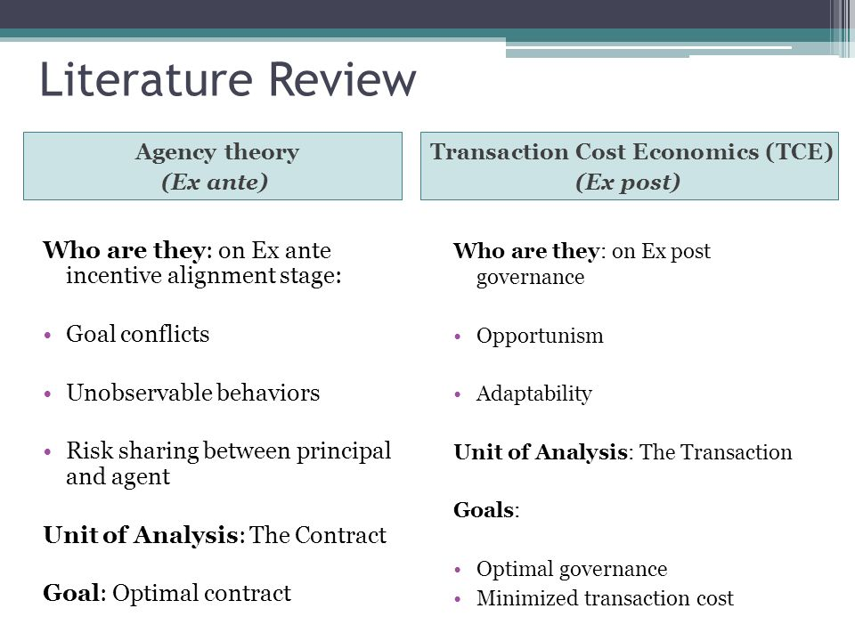 Literature Review Transaction Cost Economics (TCE) (Ex post) Who are they: on Ex ante incentive alignment stage: Goal conflicts Unobservable behaviors