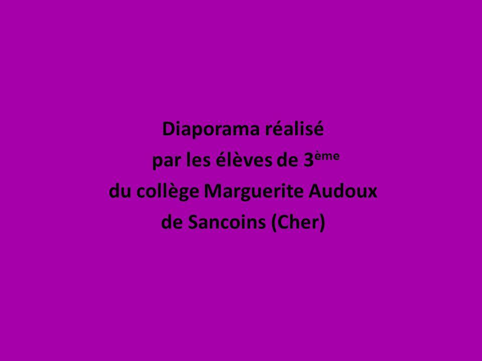 Diaporama réalisé par les élèves de 3 ème du collège Marguerite Audoux de Sancoins (Cher)