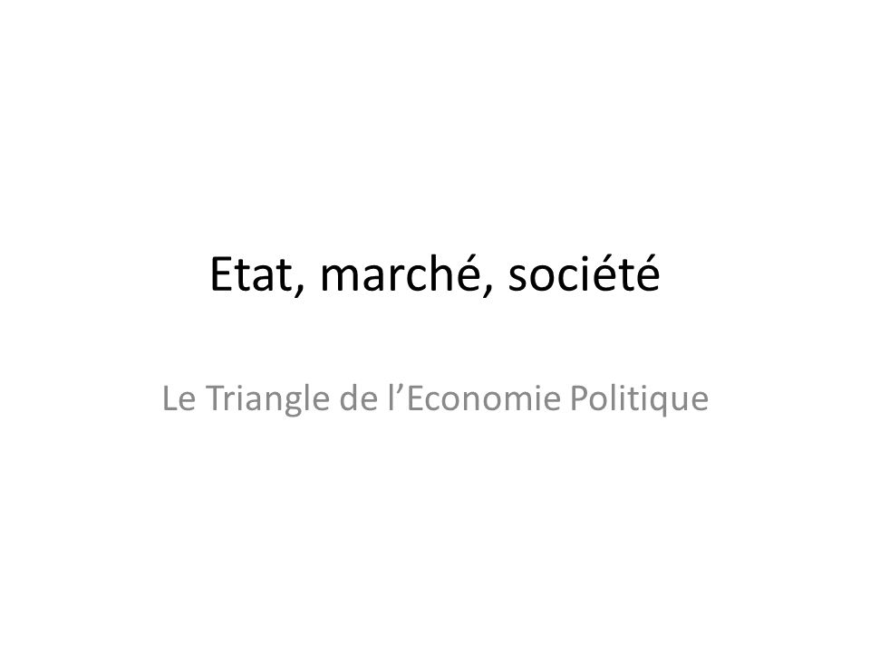 Etat, marché, société Le Triangle de lEconomie Politique