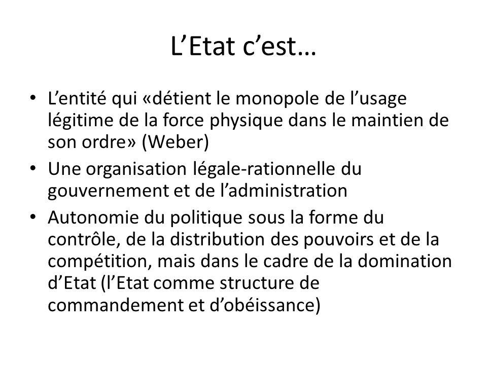 LEtat cest… Lentité qui «détient le monopole de lusage légitime de la force physique dans le maintien de son ordre» (Weber) Une organisation légale-ra