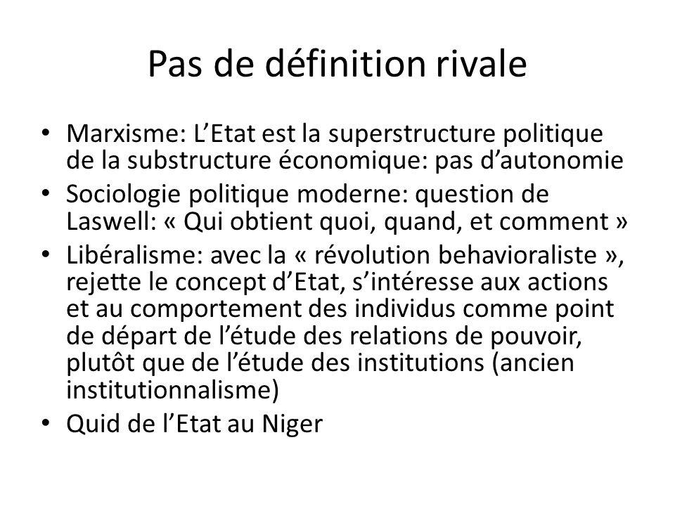 Pas de définition rivale Marxisme: LEtat est la superstructure politique de la substructure économique: pas dautonomie Sociologie politique moderne: q
