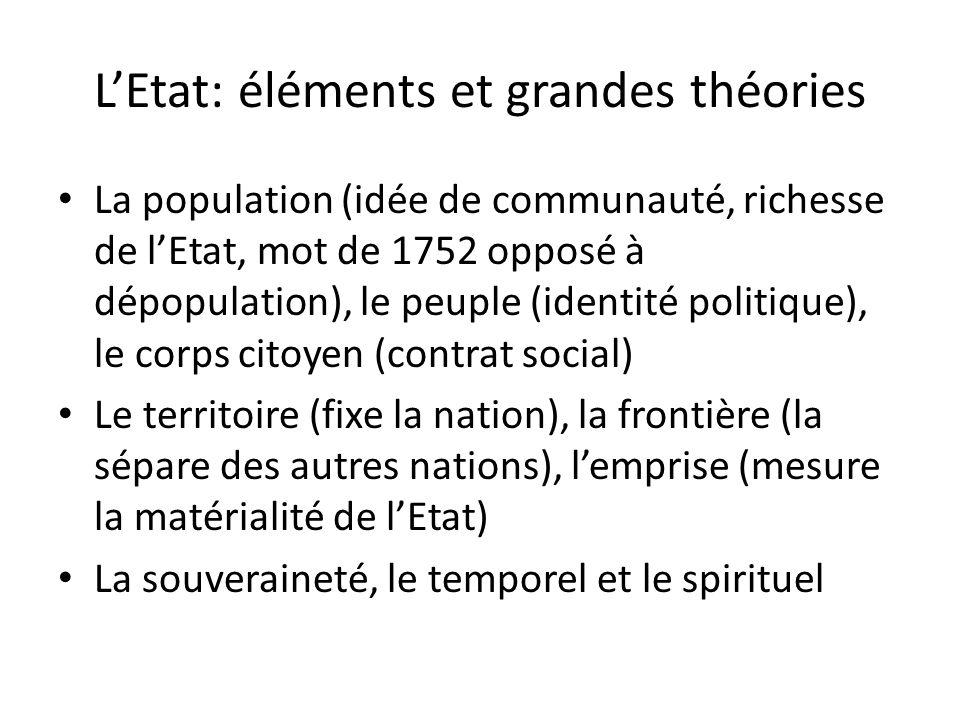 LEtat: éléments et grandes théories La population (idée de communauté, richesse de lEtat, mot de 1752 opposé à dépopulation), le peuple (identité poli