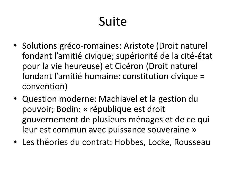 Suite Solutions gréco-romaines: Aristote (Droit naturel fondant lamitié civique; supériorité de la cité-état pour la vie heureuse) et Cicéron (Droit n