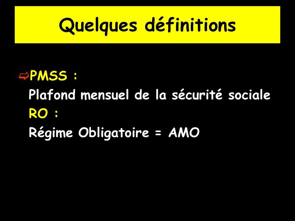 Quelques définitions PMSS : Plafond mensuel de la sécurité sociale RO : Régime Obligatoire = AMO