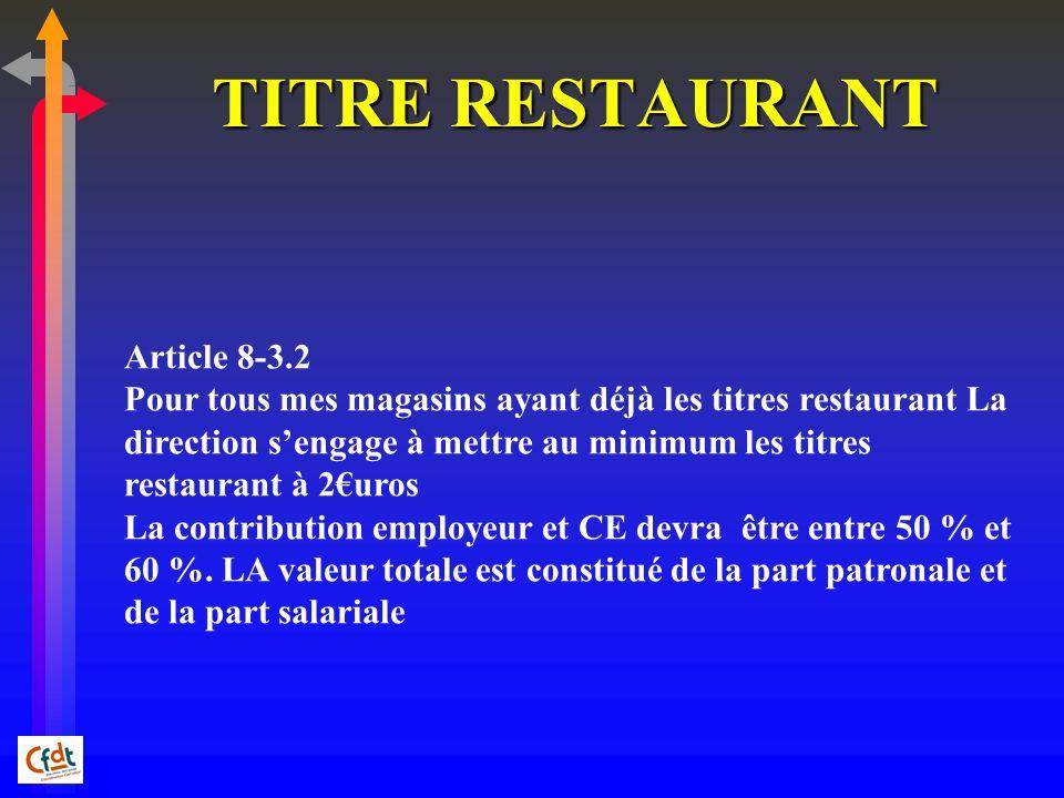 TITRE RESTAURANT Article 8-3.2 Pour tous mes magasins ayant déjà les titres restaurant La direction sengage à mettre au minimum les titres restaurant