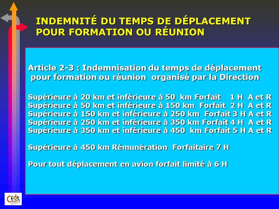 INDEMNITÉ DU TEMPS DE DÉPLACEMENT POUR FORMATION OU RÉUNION Article 2-3 : Indemnisation du temps de déplacement pour formation ou réunion organisé par