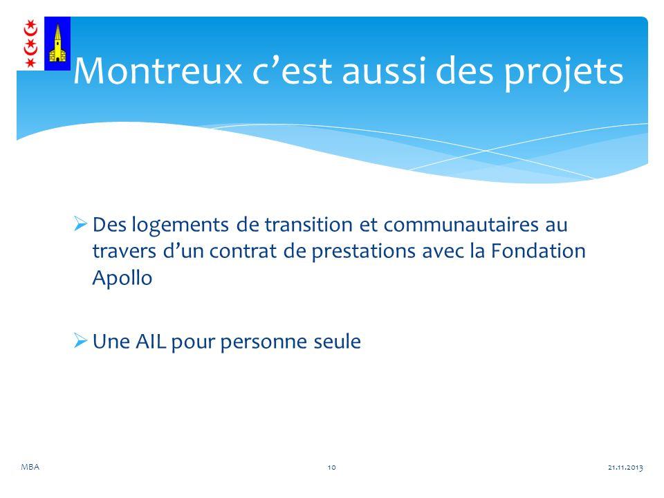 Des logements de transition et communautaires au travers dun contrat de prestations avec la Fondation Apollo Une AIL pour personne seule 21.11.2013MBA10 Montreux cest aussi des projets