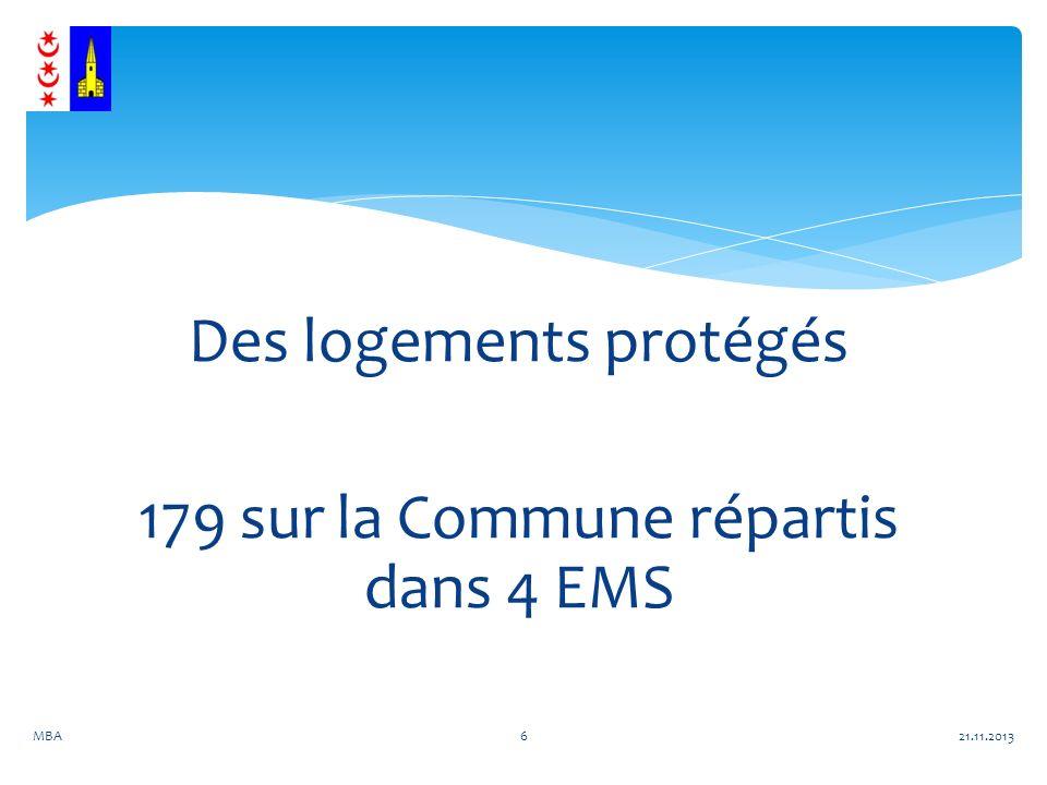 Des logements protégés 179 sur la Commune répartis dans 4 EMS 21.11.2013MBA6
