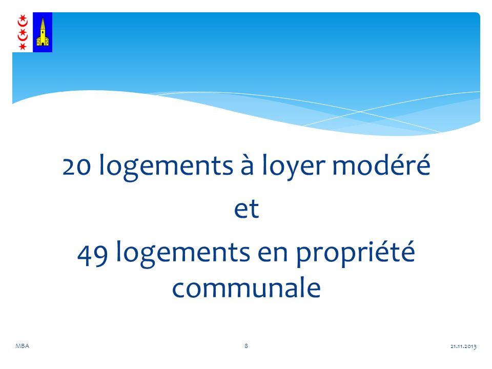 20 logements à loyer modéré et 49 logements en propriété communale 21.11.2013MBA8