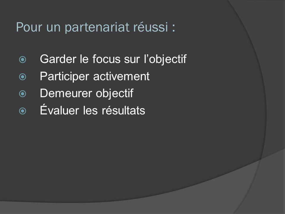 Pour un partenariat réussi : Garder le focus sur lobjectif Participer activement Demeurer objectif Évaluer les résultats
