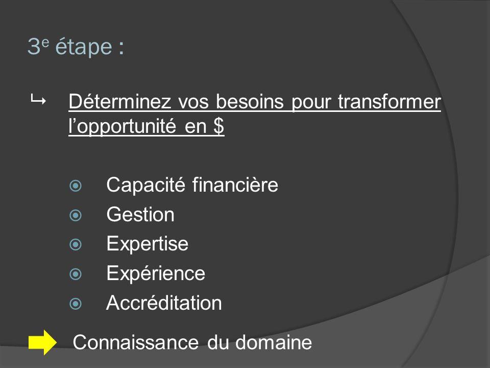 3 e étape : Déterminez vos besoins pour transformer lopportunité en $ Capacité financière Gestion Expertise Expérience Accréditation Connaissance du domaine