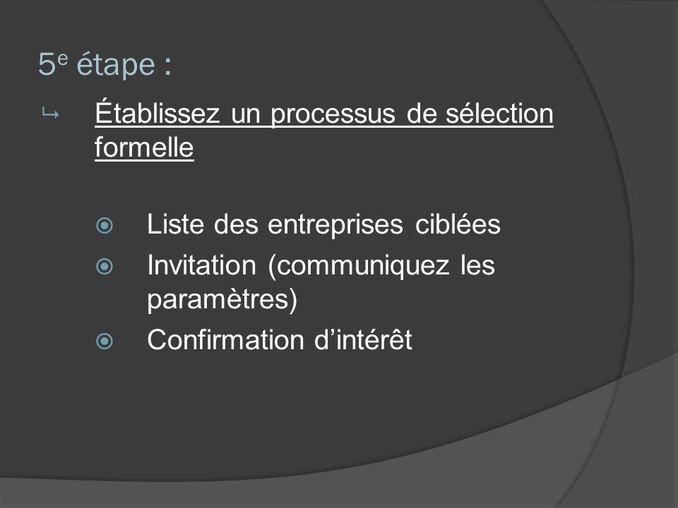 5 e étape : Établissez un processus de sélection formelle Liste des entreprises ciblées Invitation (communiquez les paramètres) Confirmation dintérêt