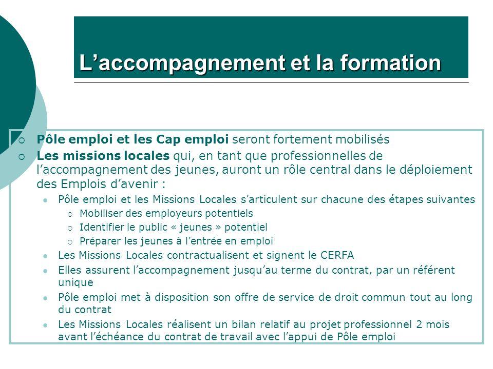 Laccompagnement et la formation Pôle emploi et les Cap emploi seront fortement mobilisés Les missions locales qui, en tant que professionnelles de lac