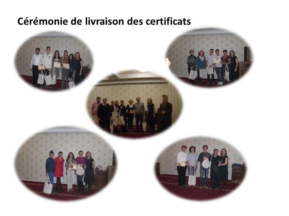 Cérémonie de livraison des certificats