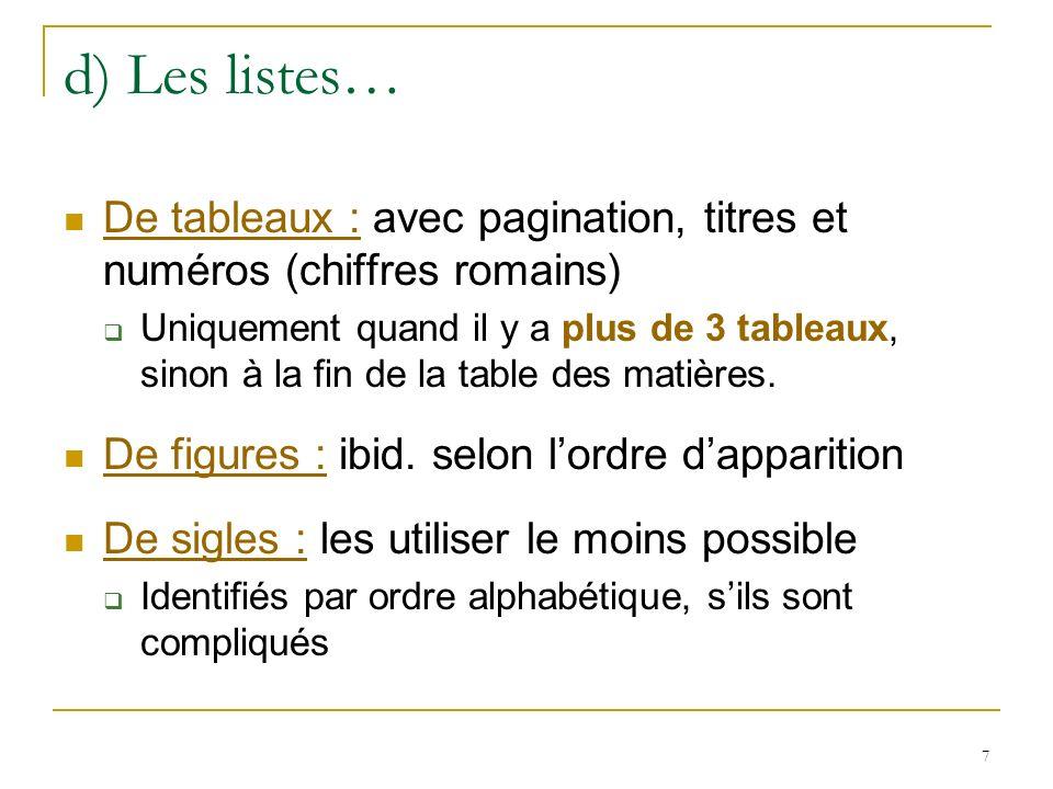 7 d) Les listes… De tableaux : avec pagination, titres et numéros (chiffres romains) Uniquement quand il y a plus de 3 tableaux, sinon à la fin de la
